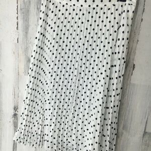 THE LIMITED White Polka Dot Pleated Midi Skirt
